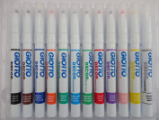12 x Giotto Decor Materials Marker Pens - Multi Surface Glass Wood Porcelain Pen Loose