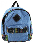 Denim Rucksack with ikat trim