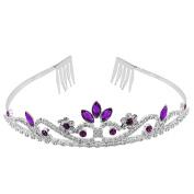 Purple Crystal Rhinestone Wedding Bridal Prom Party Headband Hair Tiara Jewellery