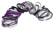 Zest 30 Hair Bands Hair Elastics Lurex Black Purple & Silver
