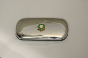 Polished chrome football club glasses case - Plymouth Argyle