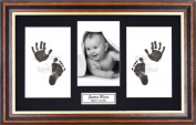 Anika-Baby BabyRice Baby Hand and Footprints Kit includes Black Inkless Prints/ Mahogany and Gold trim Wooden Frame with Black Mount Display