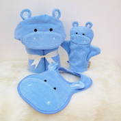 Bathing Bunnies Hippo Baby Towel Gift Set Sky Blue