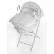 New luxury White Wicker Moses Basket With Folding Stand