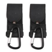 Buggy Pram Pushchair Stroller Metal Clip Hooks for Hanging 2pcs Black
