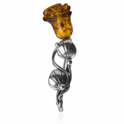 Amber Sterling Silver Rose Brooch