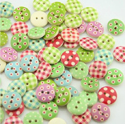 100pcs/set Mixed 2 Holes Round Pattern Sewing Scrapbooking Wooden Buttons 15mm