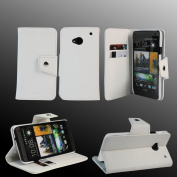 AceAbove HTC One M7 Case Wallet [White] Protective & Stand Case for HTC One M7