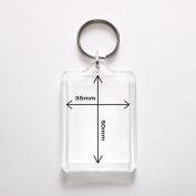 100pcs Blank Acrylic Photo Key rings 50X35mm UK Passport Size Keyrings