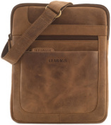 "LEABAGS - Unisex Leather Cross Body Shoulder Bag ""DETROIT"" Vintage Style made of Genuine Buffalo Leather"