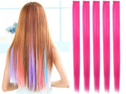 OneDor® 60cm Straight Coloured Party Highlight Clip on in Hair Extensions 12 Multiple Colours