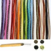 "New 21 Pc Kit "" Vivid Mix 18cm - 28cm Feather Hair Extensions"" 10 Long Genuine Single Feathers + 10 Micro Beads & 1 Hook Tool"