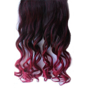 Colorlife Fashionable 60cm Black to Burgundy Ombre Dip-dye Curly Full Head Clip in Hair Extensions with Exclusive Gift
