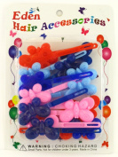 Eden Girls Self Hinge Plastic Butterfly Hair Barrettes - 18 Pcs.