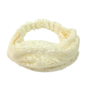 Elegant Women Beige Bandanas Lace Headwrap Headband Girls' Hair Accessory Gift