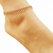 HP95(TM) New Come Fashion Charm Golden Chain Leaf Fishbone Anklets Jewellery Gold