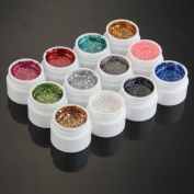 HOT New 12 Mix Colours Glitter UV Builder Gel Acrylic Nail Art Decoration