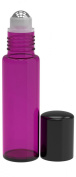 6 Pack - Empty Roll on Glass Bottles [STAINLESS STEEL ROLLER] 10ml Refillable Colour Roll On for Fragrance Essential Oil - Metal Chrome Roller Ball - 10 ml 1/3 oz - Purple Colour