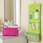 Cosmetic Bag Camping Travel Fold-Up Toiletry Bag Cosmetic Wash Shower Bag waterproof Hanging Hook Organiser,Green