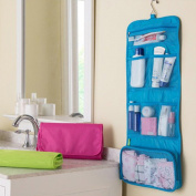 Cosmetic Bag Camping Travel Fold-Up Toiletry Bag Cosmetic Wash Shower Bag waterproof Hanging Hook Organiser,Blue