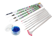 11 pcs Professional Nail Art Striping Set With UV Gel Brush Plus Painting/Drawing/Lining Brushes & Dotting Tool