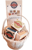 Authentic Olive Soap Gift Basket, includes 3-pc of Alqaryon Pure Olive Oil Soap Bars and Natural Pumpkin Loofah, all wrapped in a White Bamboo Gift Basket