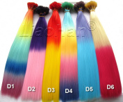 Liaohan® Ombre I Tip Hair Extensions Gradient hair 120pcs/Lot Colourful Tip Hair With 120pcs Free Beads & a Hook in Random Colour Mixture