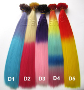 Liaohan® Ombre I Tip Hair Extensions Gradient hair 100pcs/Lot Grizzly Feather Hair With 100pcs Free Beads & a Hook Random Colour Mixture