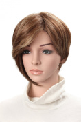 OneDor® 25cm Short Kanekalon Premium Synthetic Short Synthetic Bob with Long Bangs Highlights Brown Hair Wig
