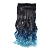 Alay & me Ombre Black to Dark Blue to Light Blue Curly Clips in Hair Extension