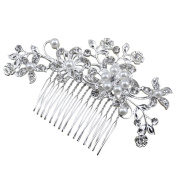 Yaheetech Women Wedding Bridal Crystal Rhinestone Decor Flower Hair Comb Claw Hairpin Hair Ornaments Accessory