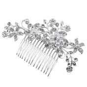 Yaheetech Women Wedding Bridal Crystal Rhinestone Decor Flower Hair Comb Claw Hairpin Hair Ornaments Accessory