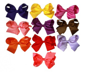 K & M Signature Colours Large 15cm Hair Bows with Alligator Clips - Set of 10