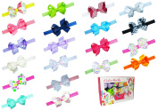 Baby Girl Interchangeable Headbands Newborn Toddler Girl Grosgrain Hair Bow Alligator Clips and headbands 40pcs by ColorBeBe