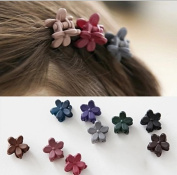 cuhair(TM) 10pcs bangs mini hair claw clip hair pin flower for girl mix coloured