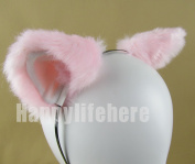Women Cat Ear Headband Halloween Cute Party Anime Cosplay Costume Kitty Cat Ears Pink with White Inside Hairband