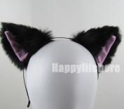 Women Cat Ear Headband Halloween Cute Party Anime Cosplay Costume Kitty Cat Ears Black with Pink Inside Hairband