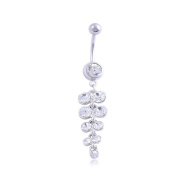 Oasis Plus Sexy Clear Crystal Silver Navel Ring Dangle Rhinestone Belly Button Rings Hoop Body Glitters Piercing Jewellery
