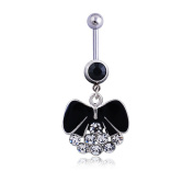 Oasis Plus Sexy Black Butterfly Clear Crystal Navel Ring Dangle Rhinestone Belly Button Rings Hoop Body Glitters Piercing Jewellery
