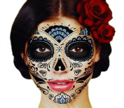 Black Glitter Skeleton Day of the Dead Temporary Face Tattoo Kit
