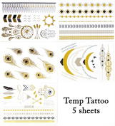 Metallic Temporary Tattoo * Jewellery Gold Silver and Black * 5 Sheets Feather-arrow-dreamcatcher-necklace