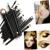 20 Pcs Pro Youngman Makeup Set Powder Foundation Eyeshadow Eyeliner Lip Cosmetic Brushes
