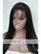 Chantiche Best Light Yaki Straight Human Hair Lace Front Wigs for Black Women Glueless Brazilian Remy Human Hair Wig with Baby Hair 130 Density 41cm Natural Colour Medium Brown Lace Colour