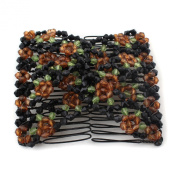 Brown Stretch Flower Bow Glass Bead Hair Head Comb Cuff Double Clip Gift
