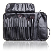 12 Pcs Studio Pro Makeup Make up Cosmetic Brush Set Kit w/ Leather Case - For Eye Shadow, Blush, Concealer, Etc