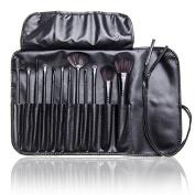 12 Pcs Studio Pro Makeup Make up Cosmetic Brush Set Kit w/ Leather Case - For Eye Shadow, Blush, Concealer, Etc