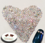 Crystal AB Round Rhinestone 3mm (10ss) 3D Acrylic Nail Art Decoration Cellphone Case USA SELLER! FAST SHIPPING! 2 butterfly charms included