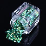 ECBASKET 1 Jar New Arrival Nail Powder Acrylic Nail Polish Dust Glitter DIY Shinny Nail Slices # Blue Green