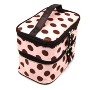 Travelling Makeup Bag Dots Pink with Coffee Double Layer Cosmetic Bag