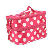 Travelling Makeup Bag Dots Pink with White Double Layer Cosmetic Bag